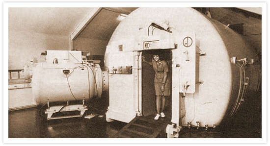 HBOT History Photo of an original hyperbaric chamber | Hyperbaric Institute of Nevada